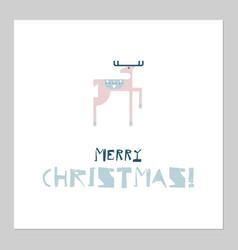 merry christmas cartoon deer flat style vector image