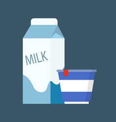 Milk diary product in package vector