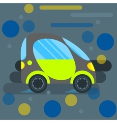 Monochrome-green Electric car style flat vector