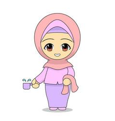 muslim girl cartoon bathing daily fun activities vector image
