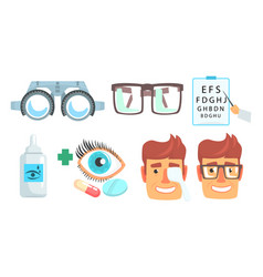 ophthalmologist diagnostic treatment and vector image