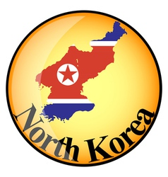 orange button with the image maps of North Korea vector image