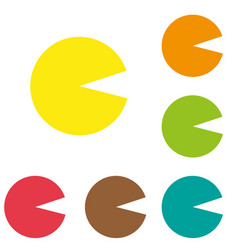 Pacman set flat pixel smile icons set pac man vector