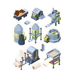 Paper production set industrial making paper from vector