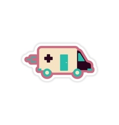 Paper sticker on white background ambulance car vector