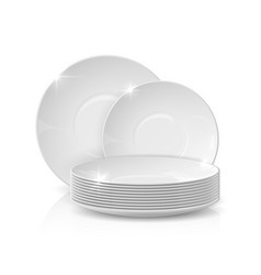 Realistic dishes stack plates and bowls 3d vector