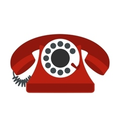 Retro red telephone flat icon vector