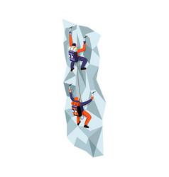 Rock climbing isometric vector