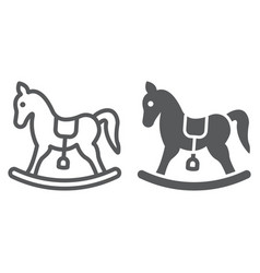 rocking horse line and glyph icon baby and toy vector image