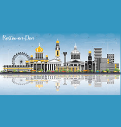 Rostov-on-don russia city skyline with color vector
