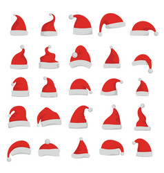 santa claus red cartoon hats vector image
