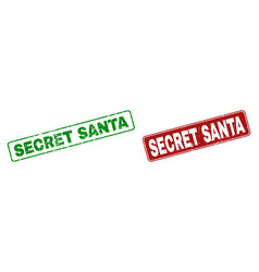 scratched secret santa stamp seals with rounded vector image