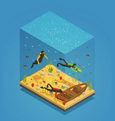 scuba divers underwater isometric composition vector image