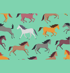 seamless pattern with colorful horses vector image