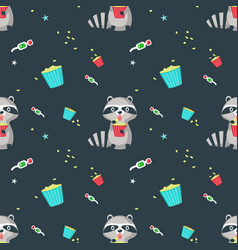 seamless pattern with cute funny raccoon vector image