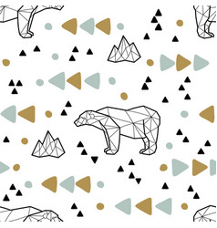 Seamless tribal pattern with low poly polar bears vector