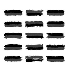 Set grayscale brushstroke paint vector