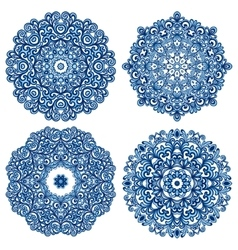 Set of mandalas in gzhel style vector
