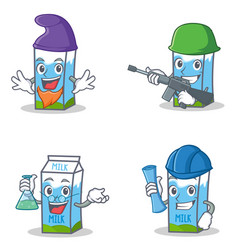 set of milk box character with elf army professor vector image
