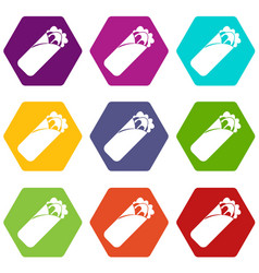 Shawarma sandwich icon set color hexahedron vector
