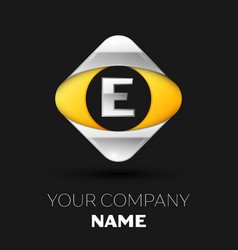 silver letter e logo in the silver-yellow square vector image