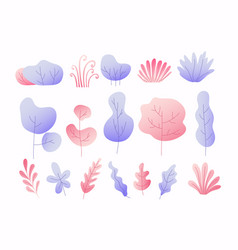 simple colorful leaves trees and bushes floral vector image