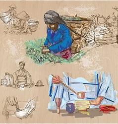 Tea Processing Agriculture An hand drawn vector image