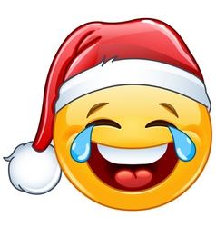 tears of joy emoticon with santa hat vector image