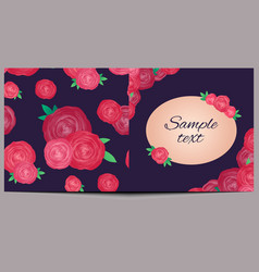 template of square greeting card with roses and vector image