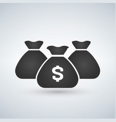 three money bags icon on white background vector image