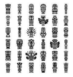 tiki idols icon set simple style vector image