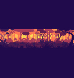 tropical jungle sunset silhouette panorama vector image