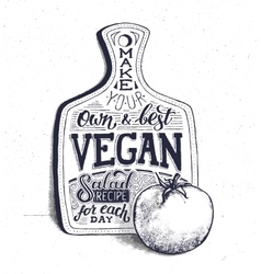 Vegan food Motivational quote Vintage poster vector image