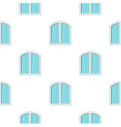 White window arched frame pattern flat vector