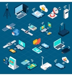 Wireless technologies isometric icons vector