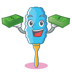 with money feather duster character cartoon vector image