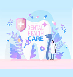 woman dentist medical equipment dental health care vector image