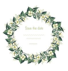 Wreath jasmine greeting card template vector