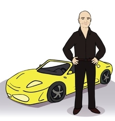 Yellow car and man vector image