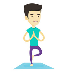 Young man practicing yoga tree pose vector