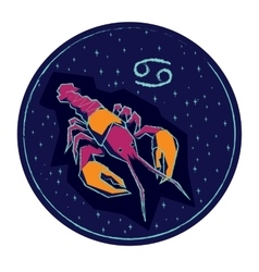 Zodiac sign cancer on night starry sky background vector