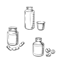 Bottles with pills capsules and cough syrup vector image