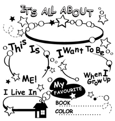 Coloring page all about me editable vector