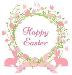 Happy Easter floral wreath vector image