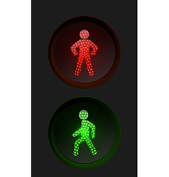 pedestrian traffic lights with red and green lamps vector image vector image