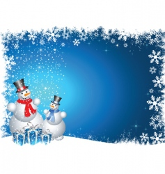 snowmen with Christmas gifts vector image vector image