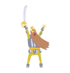 Warrior king with sword and armor with long beard vector