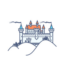 Castle hill on white background vector
