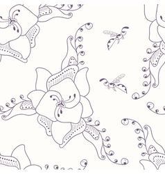 Hand drawn seamless pattern with flower and wasp vector image