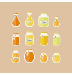 Honey jars icons set vector image vector image